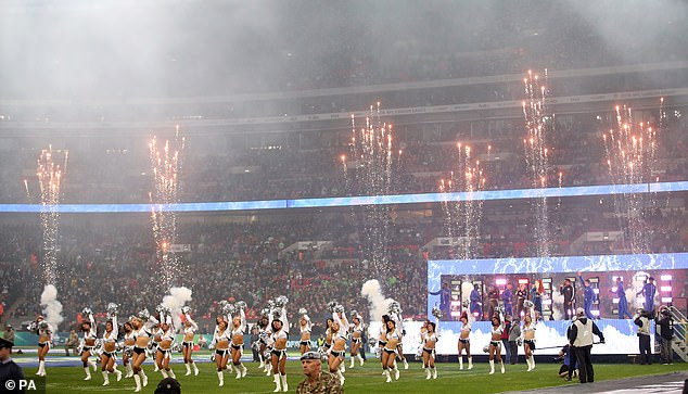 Fireworks and cheerleaders accompanied the singer as she wowed the capacity crowd