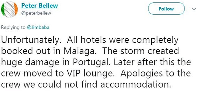 Ryanair's chief operations officer, Peter Bellew, took to Twitter to explain that the airline was unable to find accommodation in Malaga for the crew