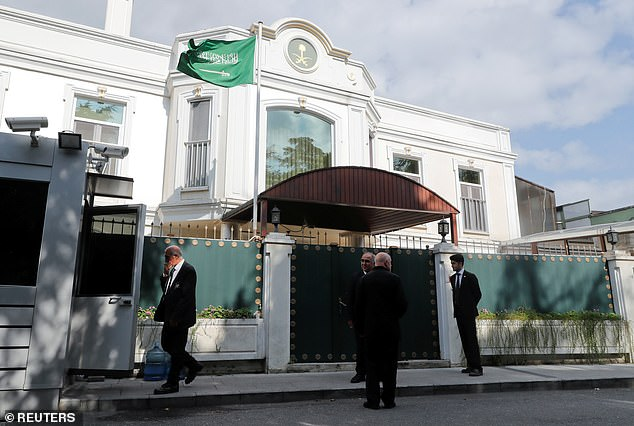 Security officers are seen in front of the residence of Consul General of Saudi Arabia Mohammad al-Otaibi in Istanbul, Turkey, today
