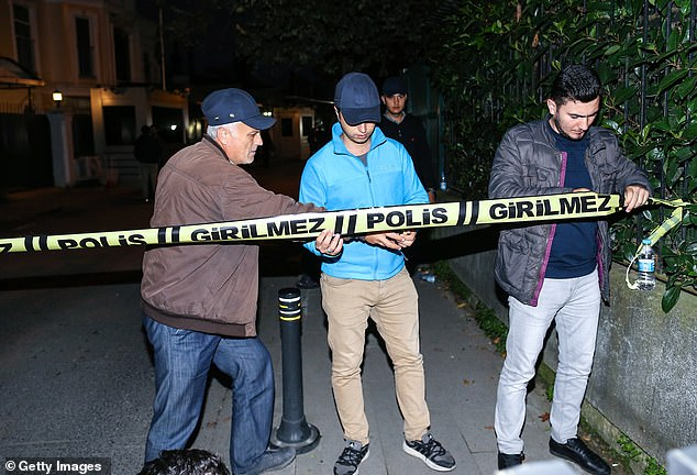 Crime scene tape blocks off the area near the residence of Consul General of Saudi Arabia in Istanbul on Tuesday night