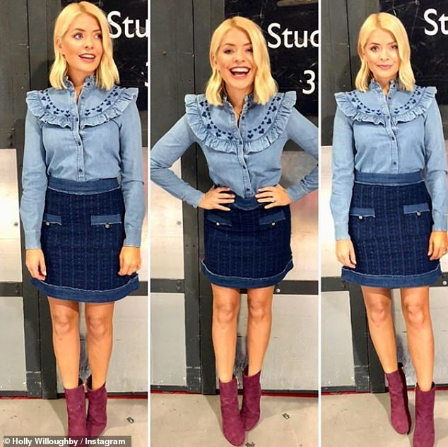 Double denim: Holly's collage of snaps in a kate spade new york managed to get her a whopping 123,000 Instagarm likes - with John of course being one of them