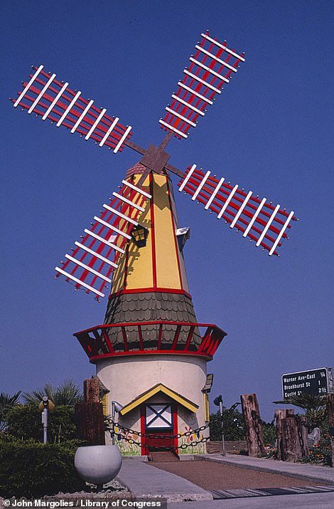 Mr Margolies stumbled across this windmill at the entrance to the Fountain Valley mini golf attraction in 1981 in Fountain Valley, California