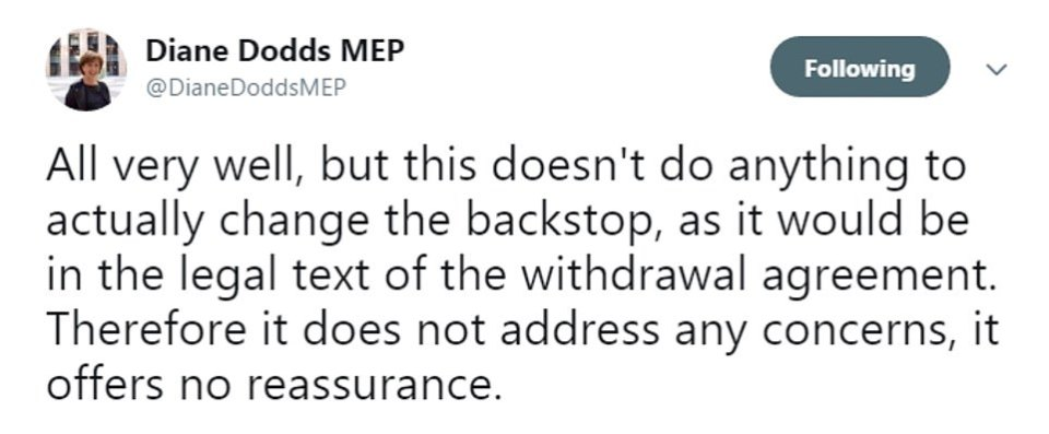 The DUP dismissed the idea that a transition extension to smooth over the Irish border issue, pointing out that it would not stop the backstop having legal effect