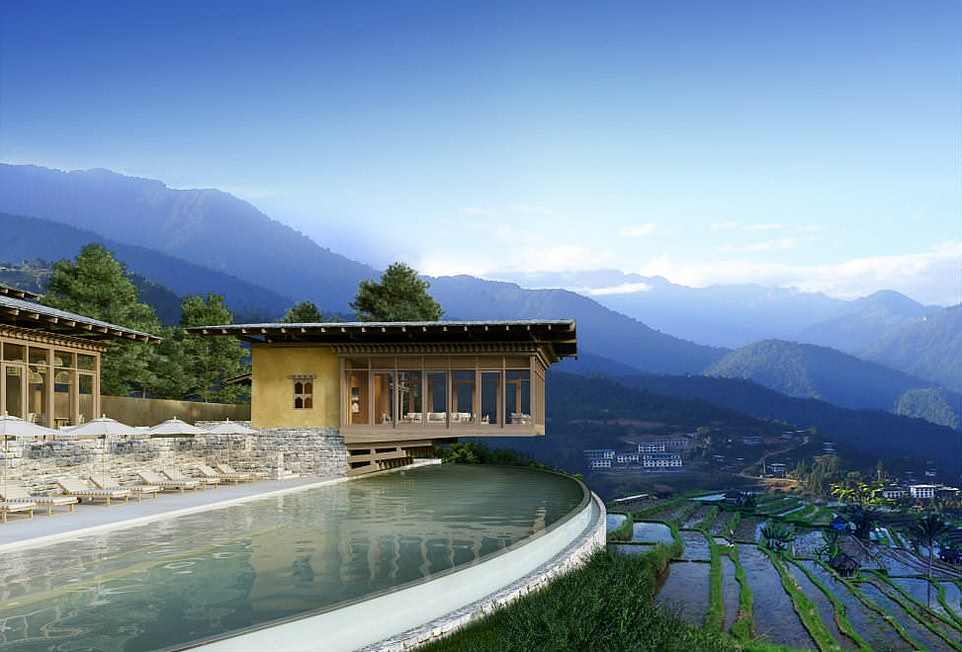 Well hello, Six Senses Punakha. The wealthy travellers will arrive here on day 18 on the Bhutan leg. And probably gasp with delight
