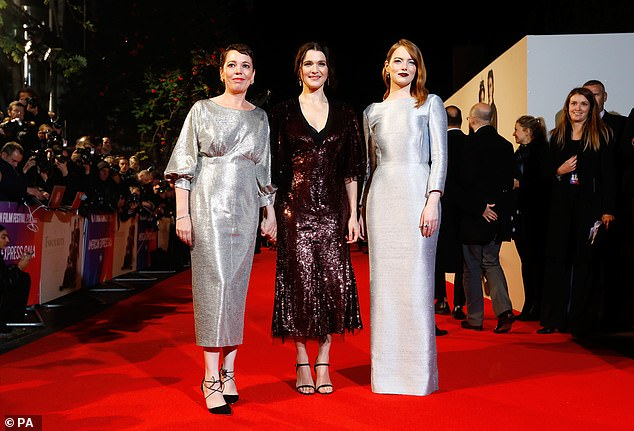 Leading ladies:Olivia joined forces with her co-stars Rachel Weisz and Emma Stone as they descended on the red carpet among the A-list crowd