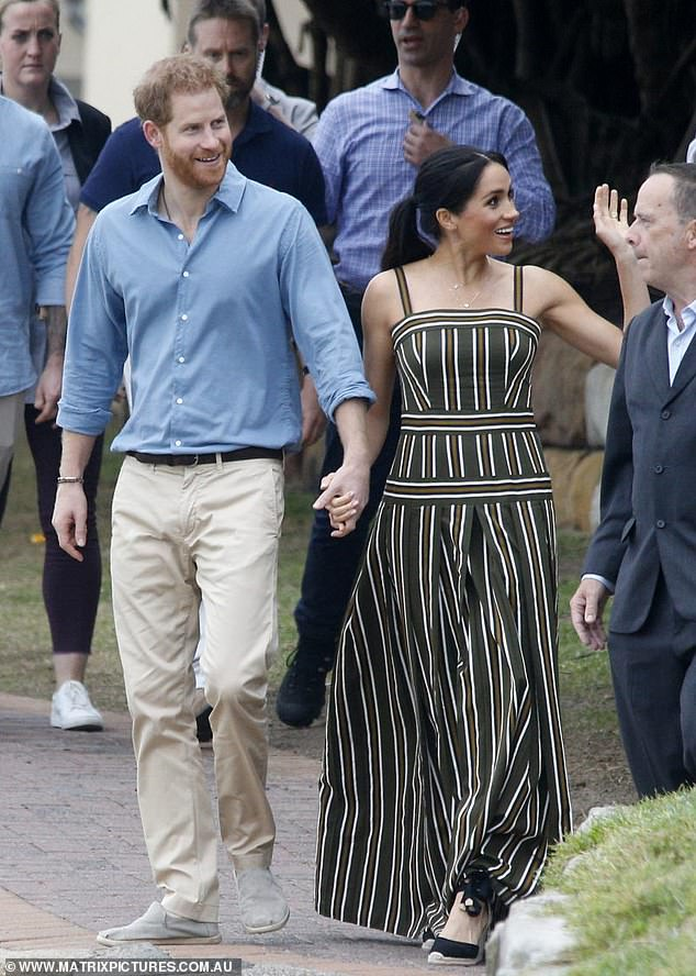 Morning: Meghan stepped out in a maxi dress from Melbourne-born designer Martin Grant's 2019 Resort collection as she joined Harry on Bondi Beach on Friday morning