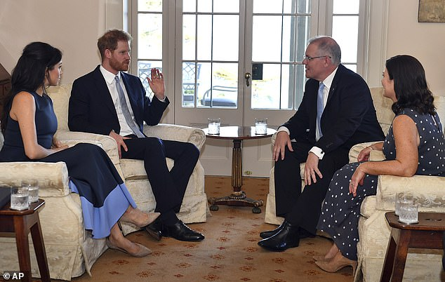 The Duke and Duchess of Sussex also stopped atKirribilli House in Sydney on Friday evening, where they metAustralia's Prime Minister Scott Morrison and his wife Jenny Morrison