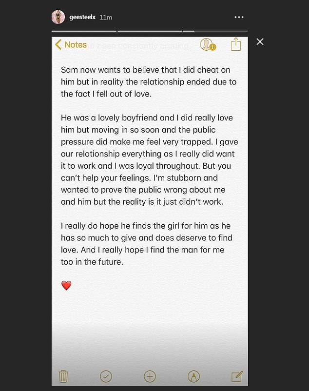 Something to say: After speaking to MailOnline, Georgia posted her statement to her Instagram stories