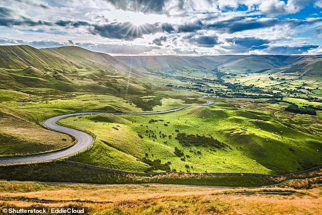 The first national park in England was created in 1951 and now there are ten protected areas on the list. Pictured: Serpentine Road in the Peak District