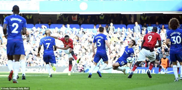 Anthony Martial had scored a second half brace as Manchester United came from behind to lead Chelsea at Stamford Bridge