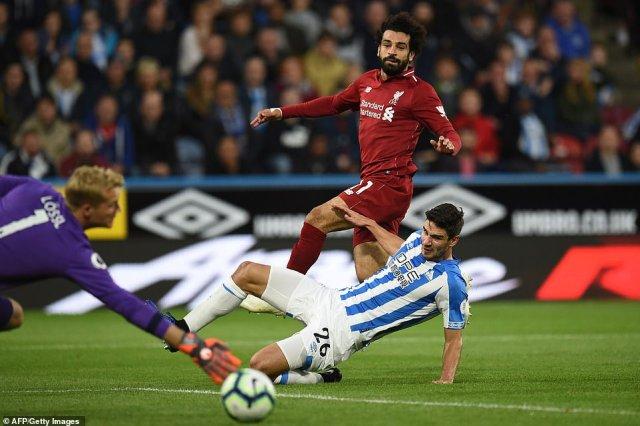 Liverpool's Mohamed Salah scored the opening goal of the Premier League encounterat the John Smith's stadium