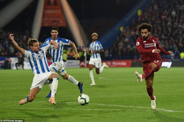 Salah had a chance to double Liverpool's lead in the second half of the match but his shot travelled wide of the post