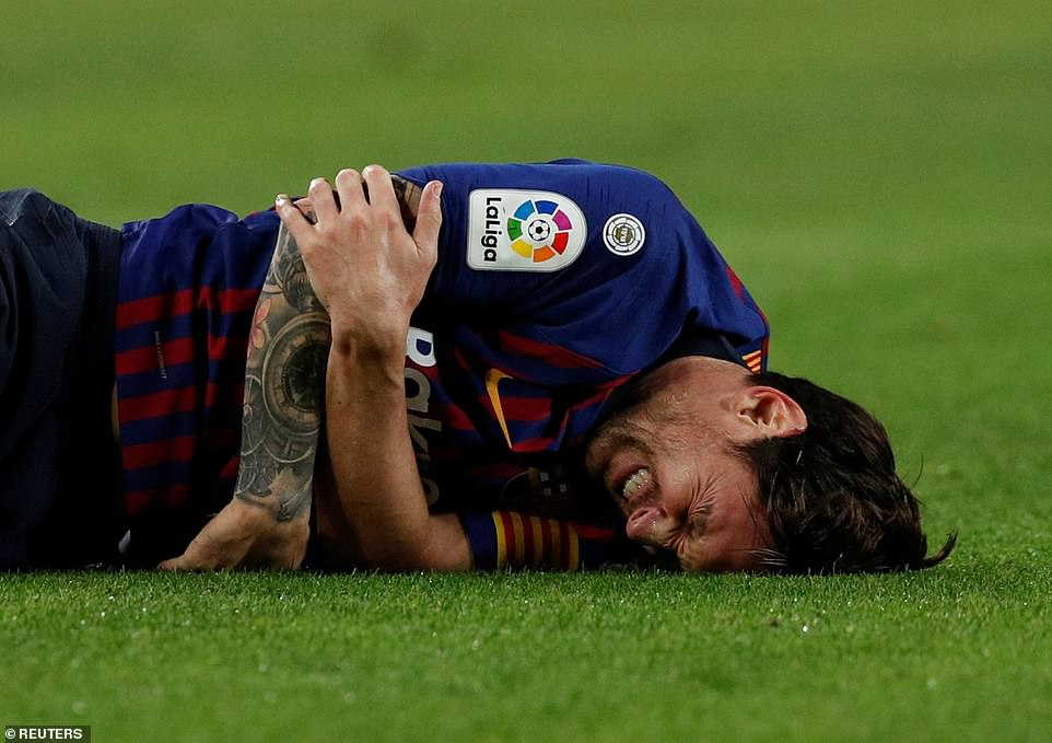 But the Argentina star's night was cut short after he fell on his right arm awkwardly and appeared to suffer a serious injury