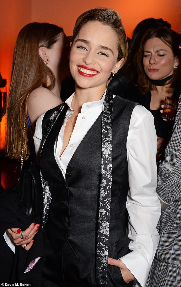 Beaming:Emilia Clarke looked every inch the superstar at the Persol & BFI London Film Festival Awards Party in London, on Saturday night