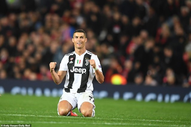 Ronaldo sinks to his knees in celebration after Juventus' narrow victory was confirmed by the final whistle