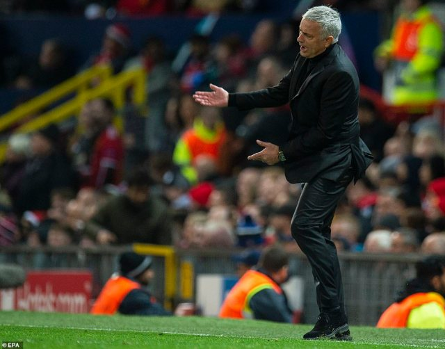 Jose Mourinho shows his frustration from the touchline as Manchester United limped to defeat at home against Juventus