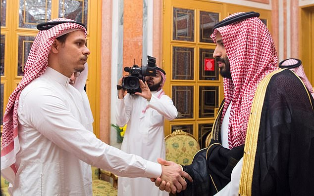 Jamal Khashoggi's son glared at the Saudi royal blamed for the death of his father yesterday. Salah bin Jamal Khashoggi was pictured shaking hands with Crown Prince Mohammed bin Salman, the powerful heir to Saudi Arabia's throne, in Riyadh during a meeting also attended by King Salman
