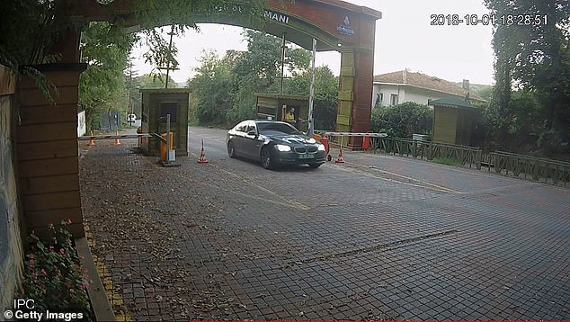 Footage shows a diplomatic car belonging to the Saudi Consulate entering Istanbul's Belgrad Forest the day before Khashoggi's murder