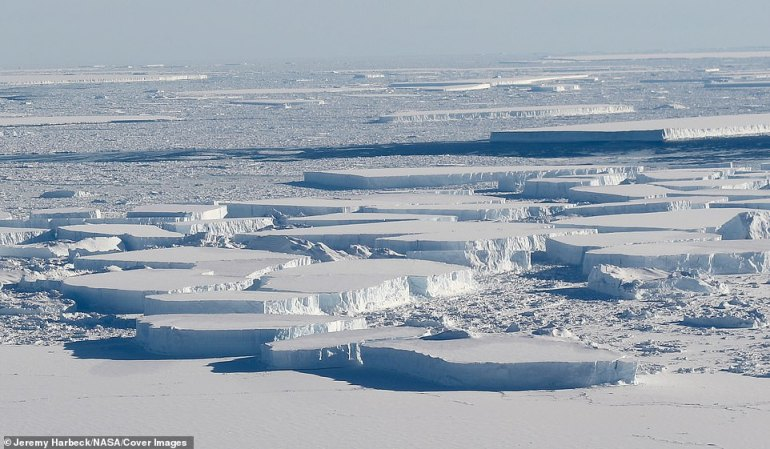 """Der Flug sah ein """"Feld"""" aus großen, tafelförmigen Eisbergen, das sich zwischen dem Eisschelf Larsen C der Antarktis und der A-68-Eisinsel befand, die letztes Jahr vom Larsen C heruntergekommen war, wie bei einer Operation der NASA-Operation IceBridge zu sehen war"""