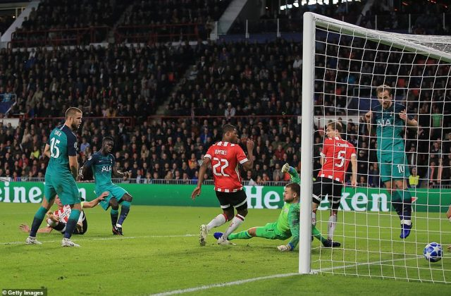 Tottenham were denied an equaliser as Kane was penalised for offside, although it is questionable whether he was interfering