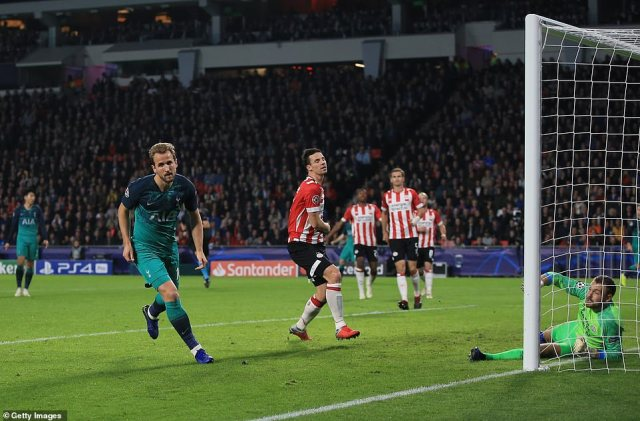 Kane wheeled away from the scene to celebrate as PSV's defenders looked on with disappointment etched on their faces