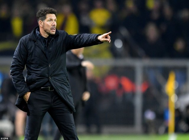 Atletico manager Diego Simeone gestured to his players as he prowled the touchline during the first half in Dortmund