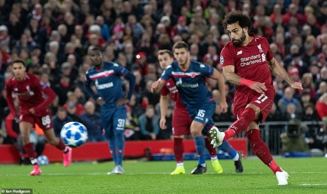 Salah scored his second and Liverpool's third from the penalty spot after Mane was fouled in the area