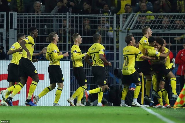 Dortmund recorded their sixth straight win in all competitions by beating Atletico Madrid in Champions League Group A
