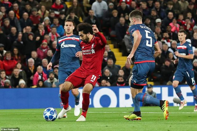 Salah doubled Liverpool's lead before half-time, firing a right-footed shot past Red Start Belgrade goalkeeper Borjan