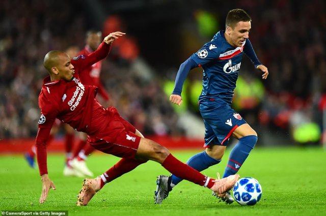 Liverpool midfielder Fabinho, who started the game on Wednesday night, challenges Red Star Belgrade's Branko Jovicic