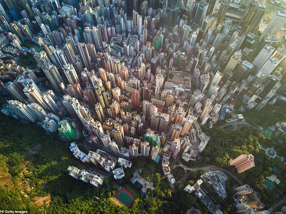 A spectacular shot was taken of Victoria Peak, the highest part of Hong Kong, and shows the skyscrapers below. There are 1,500 buildings in Hong Kong that are classified as skyscrapers, which means that they are larger than 328 feet