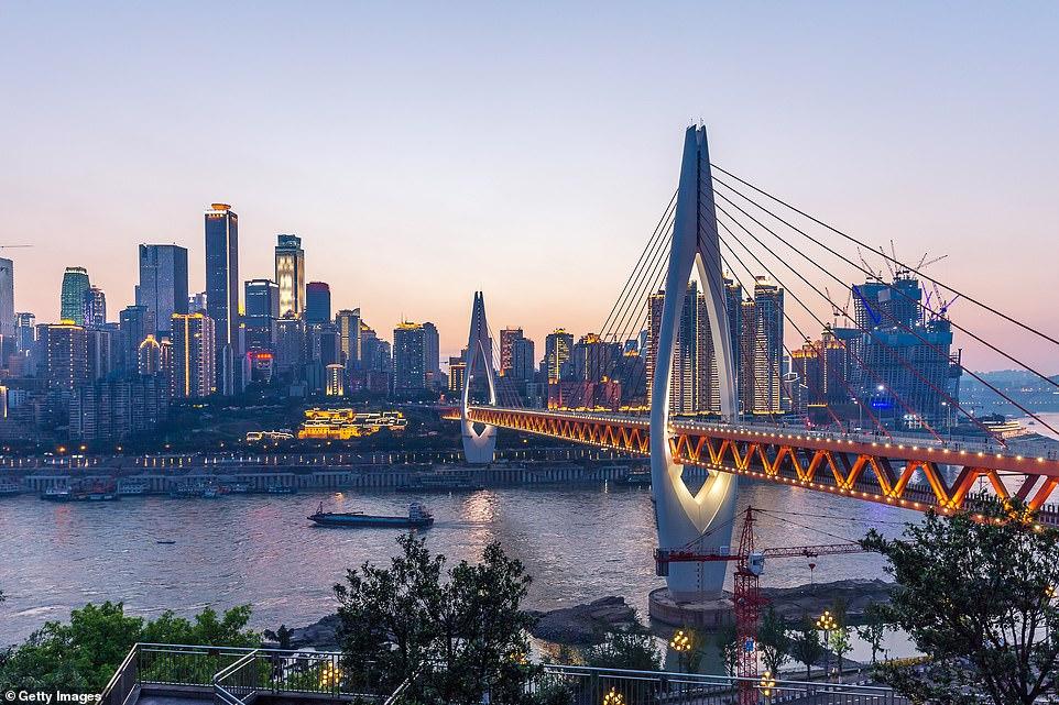 The Twin River Bridge spans the Yuzhong Peninsula in the southwestern city of Yuzhong Peninsu