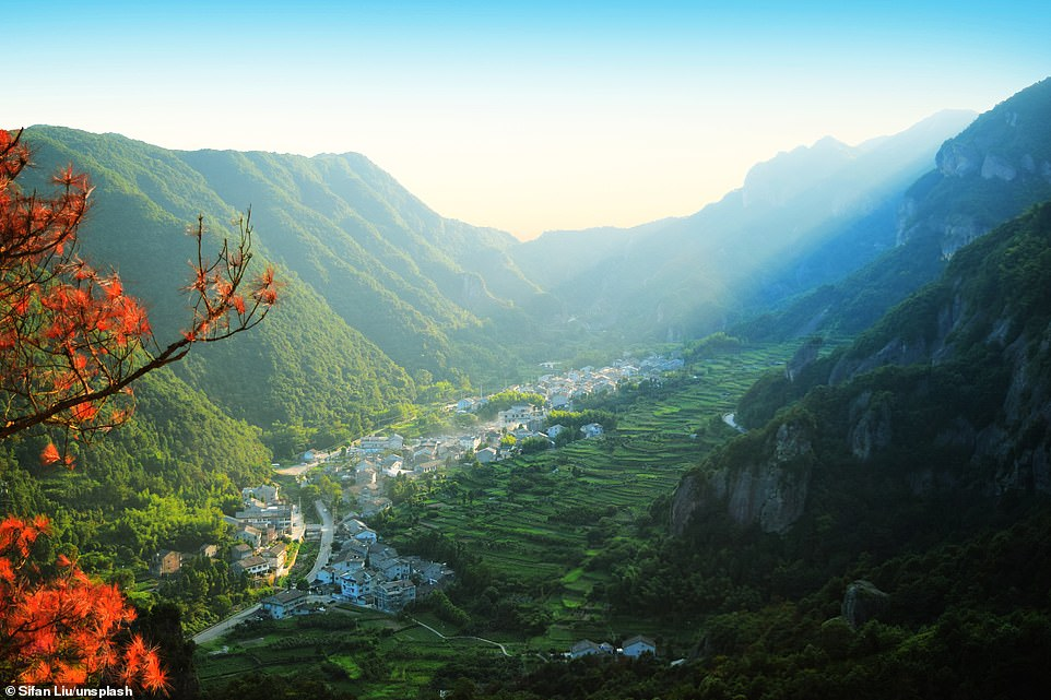 A hidden settlement lies in the valley of a valley in the Yandang Mountains in eastern China. It is believed that the mountains are one of the areas where the southern Chinese tiger can be found