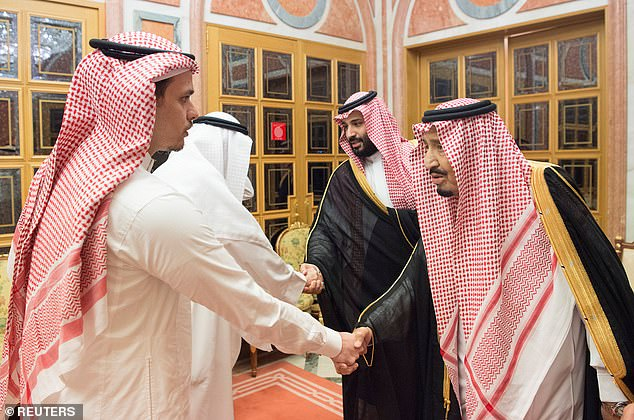 King Salman is pictured (right) shaking hands with the son of murdered Jamal Khashoggi in Riyadh. The Crown Prince (second right) is pictured shaking hands with another man