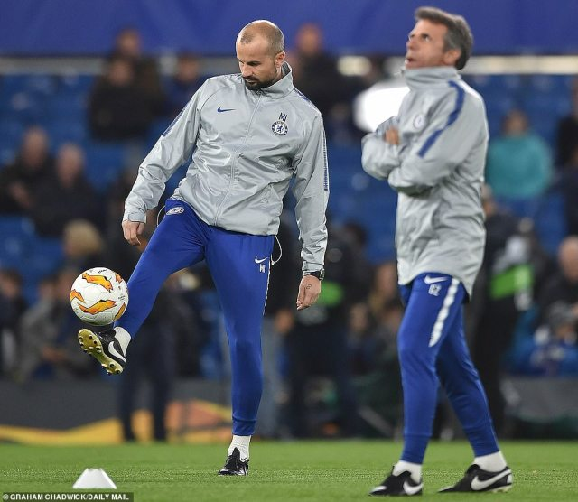 Marco Ianni (left), Chelsea's coach who incited fury from Jose Mourinho by celebrating in front of him, was present at the tie