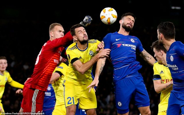 Olivier Giroud of Chelsea goes up for a header against Egor Filipenko of BATE Borisov (21) and goalkeeper Denis Shcherbitski