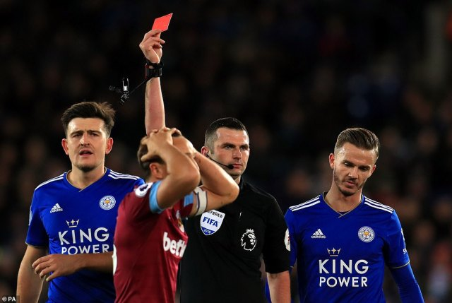 But their evening took a turn when club captain Mark Noble was shown a straight red card by referee Michael Oliver