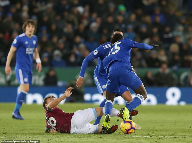 The 31-year-old central midfielder chased down a loose ball but his sliding challenge saw him catch Ndidi's ankle dangerously