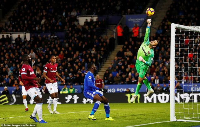 West Ham goalkeeper Lukasz Fabianski showed his qualities at the King Power as he rose to punch over a Leicester effort