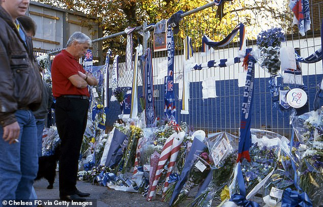 After the death of Harding there were flowery tributes, cloths and messages at Stamford Bridge