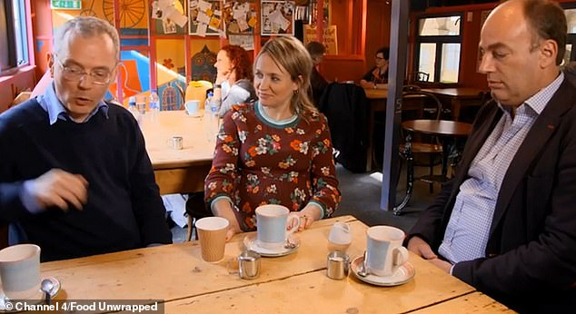 Oxford University psychologist Charles Spence said that the container into which our drinks come can affect taste as much as the beverage itself. Fig. From left to right: physicist Stephen Blundell, presenter Kate Quilton and Prof. Spence on Food Unwrapped