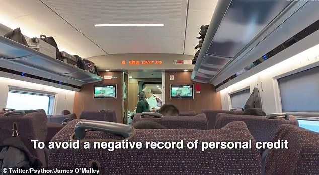 A clip filmed by a London journalist shows a train announcement in China asking passengers to behave properly so they will not be punished by the social credit system