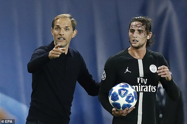 Rabiot (right) with PSG boss Tuchel after coming on as a substitute against Marseille