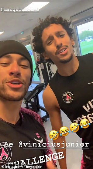 Neymar seemed to enjoy himself as he tried to imitate Vinicius Jr.'s imitation
