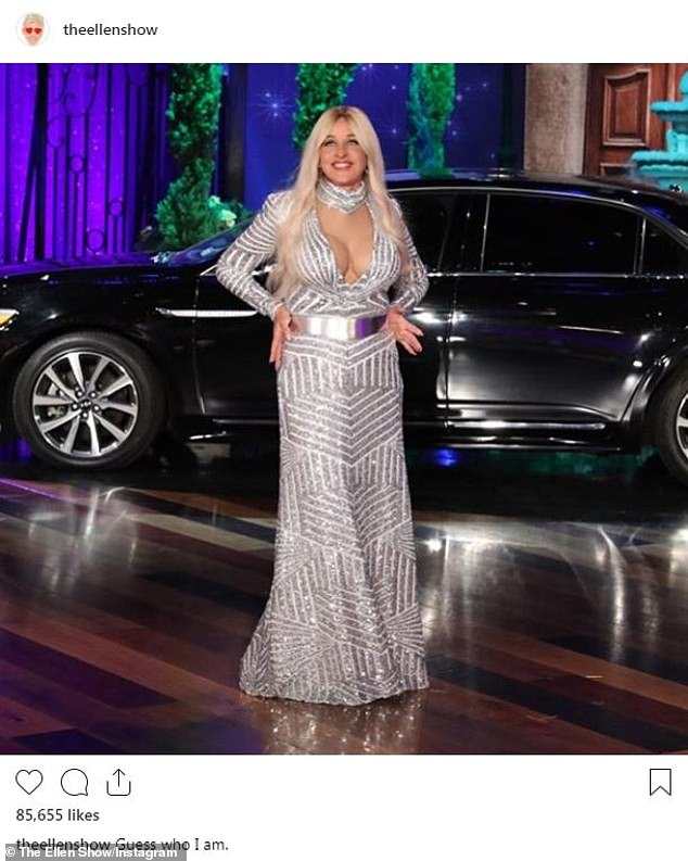 Hot stuff:Ellen DeGeneres shared her costume early as she was dressed up as a Bachelor contestant named Kelllly complete with blonde wig and fake chest