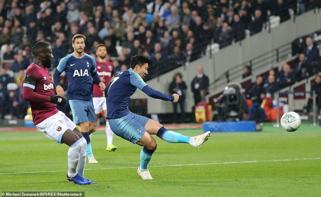 Son Heung-Min fires a powerful shot into the West Ham net to break the deadlock at the London Stadium on Wednesday night