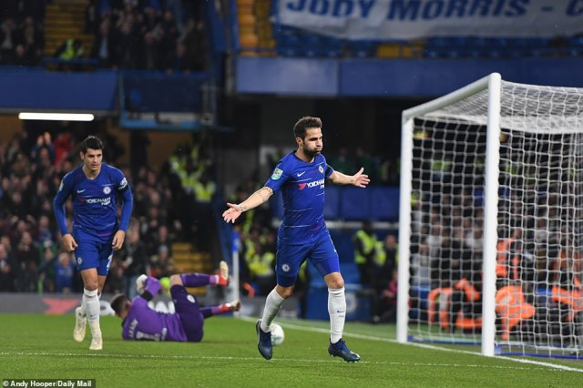 Midfielder Fabregas celebrates after scoring Chelsea's third goal of match against Derby, which turned out to be the winner