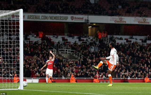 Blackpool's Nathan Delfouneso puts the ball in the net only to be ruled out for offside during the Carabao Cup match