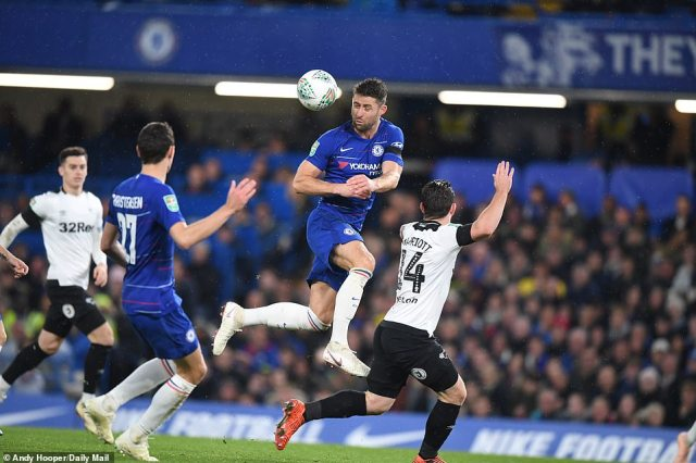 Chelsea defender Gary Cahill wins a header as Derby tried to find an equaliser in the second half of the Carabao Cup match