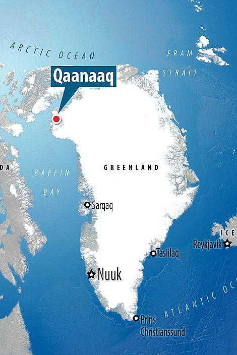 The city of Qaanaaq has about 620 inhabitants and is located near the Canadian Arctic
